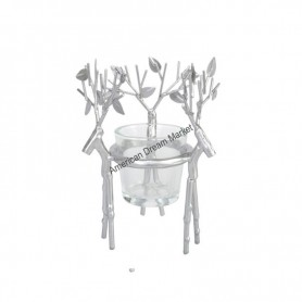Support votive silver reeindeer
