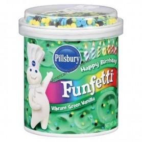 Funfetti vibrant green vanilla frosting