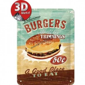 Plaque delicious burger 3D