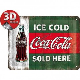 Plaque ice cold coca cola 3D