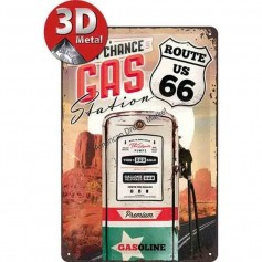 Plaque route 66 gas 3D MM