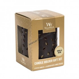 WoodWick set photophore et petite candle vanilla bean