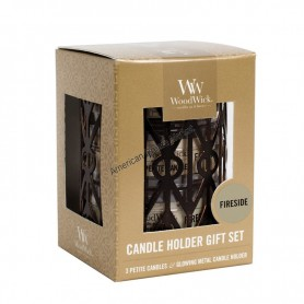 WoodWick set photophore et petite candle fireside
