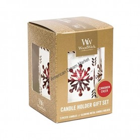 WoodWick set photophore et petite candle cinnamon cheer