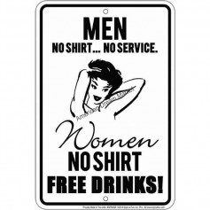 Men no shirt no service