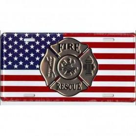 License plate fire rescue