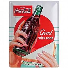 Plaque drink coca cola good with food