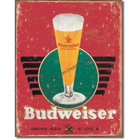 Budweiser glass and logo