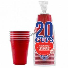 20 Gobelets Rouges 53cl
