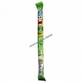 Pucker powder gum tube sour green apple.
