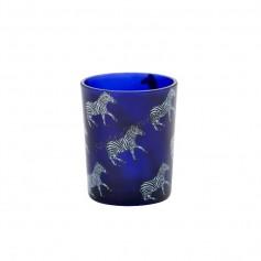 Support votive zebre bleu