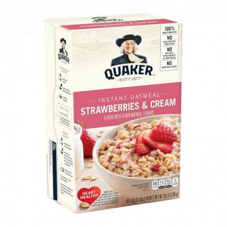 Quaker strawberries and cream instant oatmeal