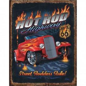 Plaque métal hot rod highway 66