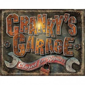 Plaque métal cranky's garage