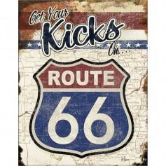 Plaque métal route 66 kicks