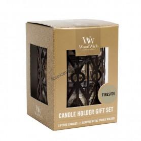 WoodWick set photophore et petite candle fireside