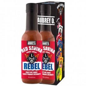 Aubrey D rebel red savina hot sauce