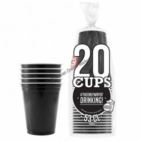 20 Gobelets Noirs 53cl