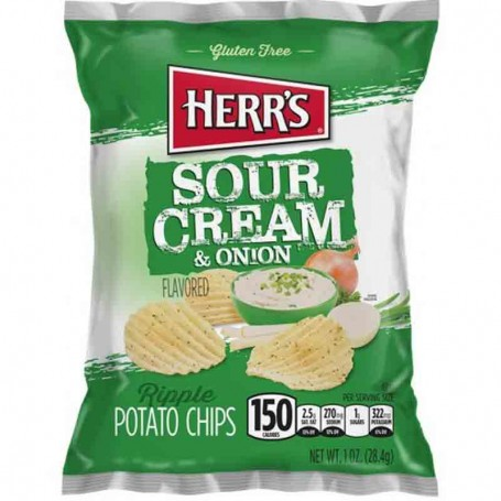 Herr's sour cream and onion chips 28G